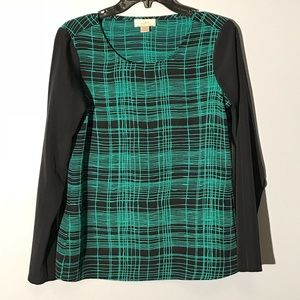 NWOT navy blue and green long sleeve blouse